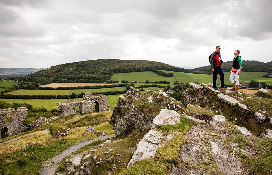 People exploring at the Rock of Dunamase in County Laois