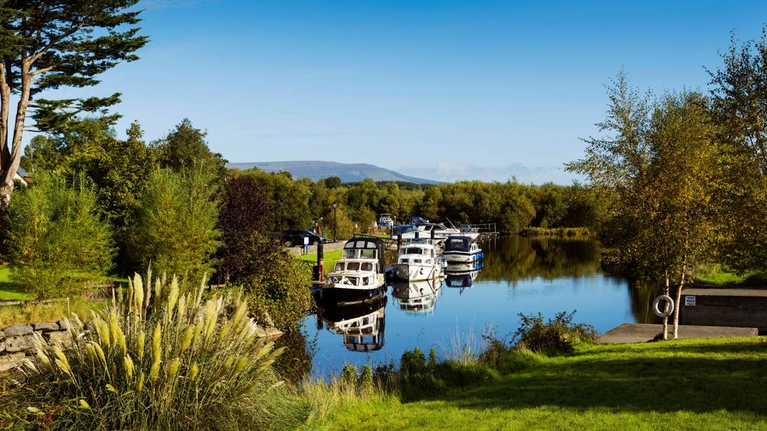 Cruisers moored at Leitrim Village in County Leitrim on a sunny day near some trees