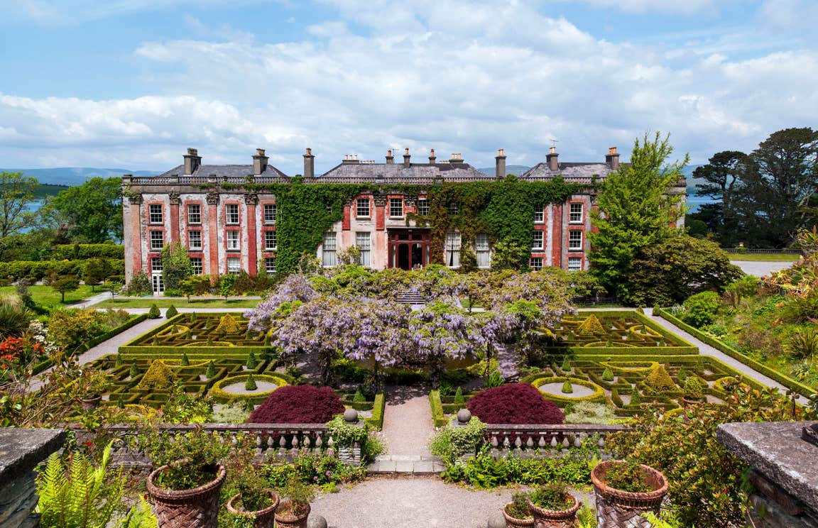 Manicured gardens outside Bantry House situated on the Wild Atlantic Way in County Cork