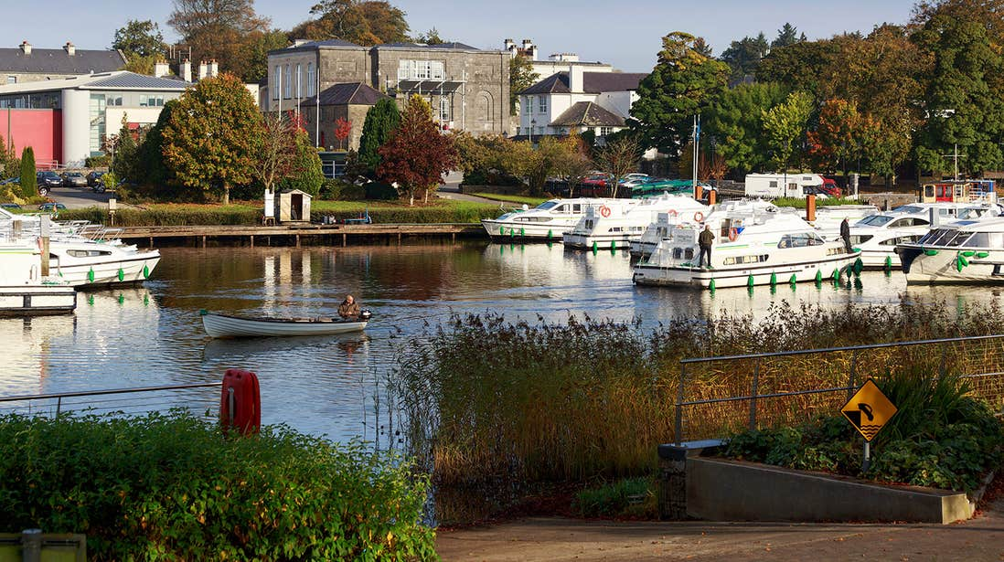 Boats docked at a marina in Carrick on Shannon.
