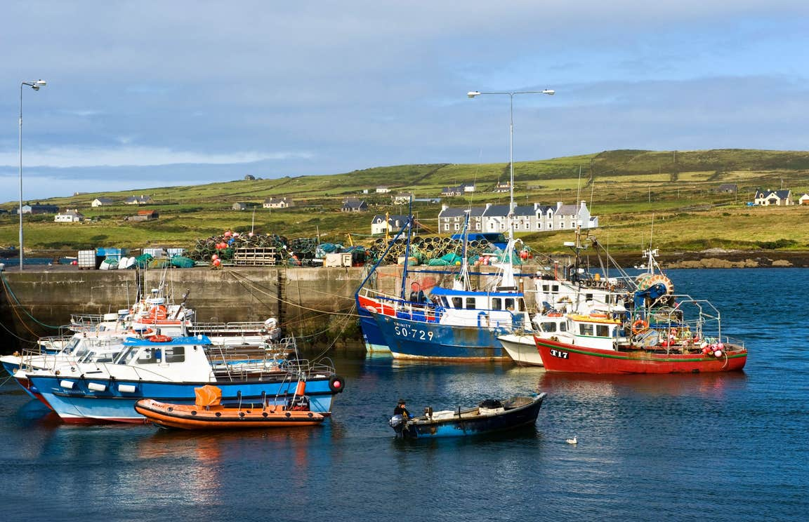 Boats in a harbour on The Ring of Kerry, County Kerry