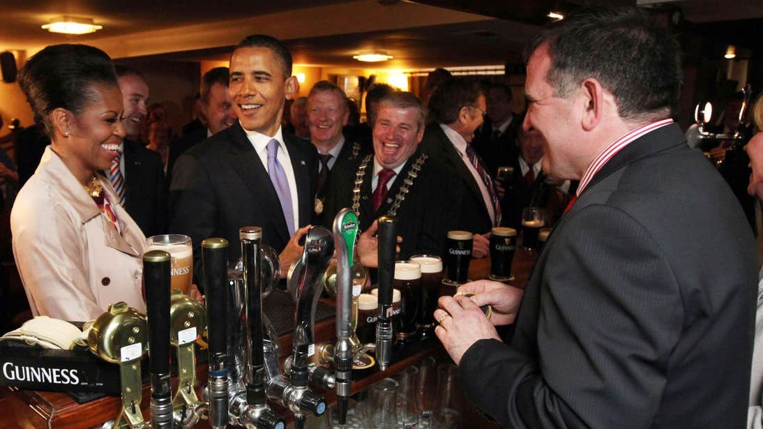 Barack and Michelle Obama in a pub in Moneygall, Offaly on their 2011 visit to Ireland