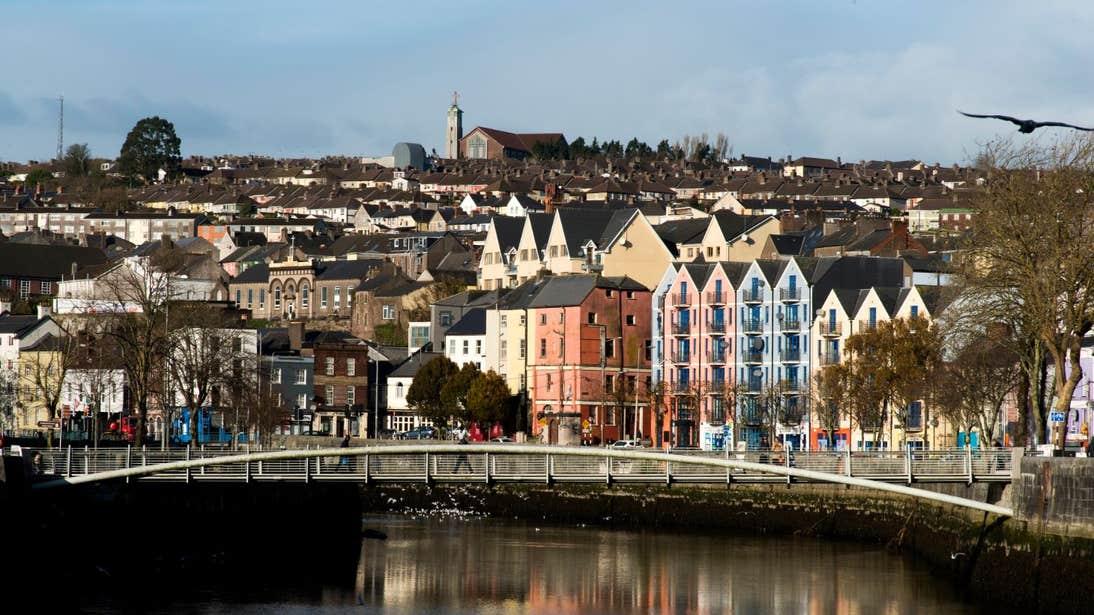 Colourful houses behind the Shandon Bridge in Cork City