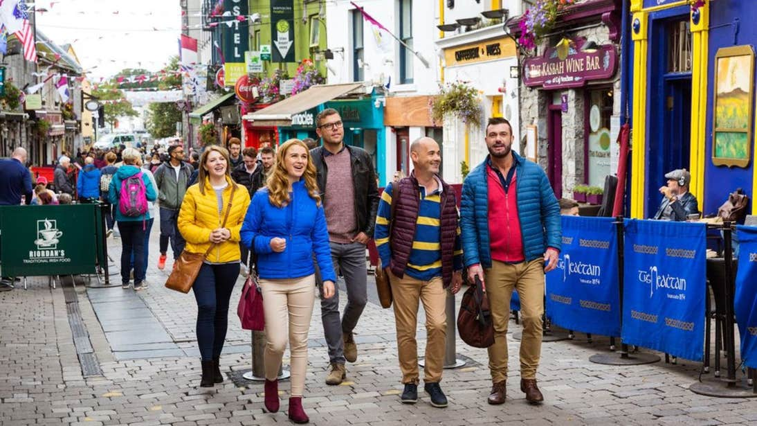 A group of people enjoying Galway City