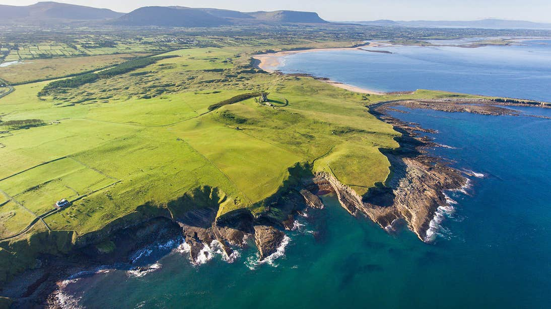 View of water and cliffs from above Mullaghmore Head, County Sligo
