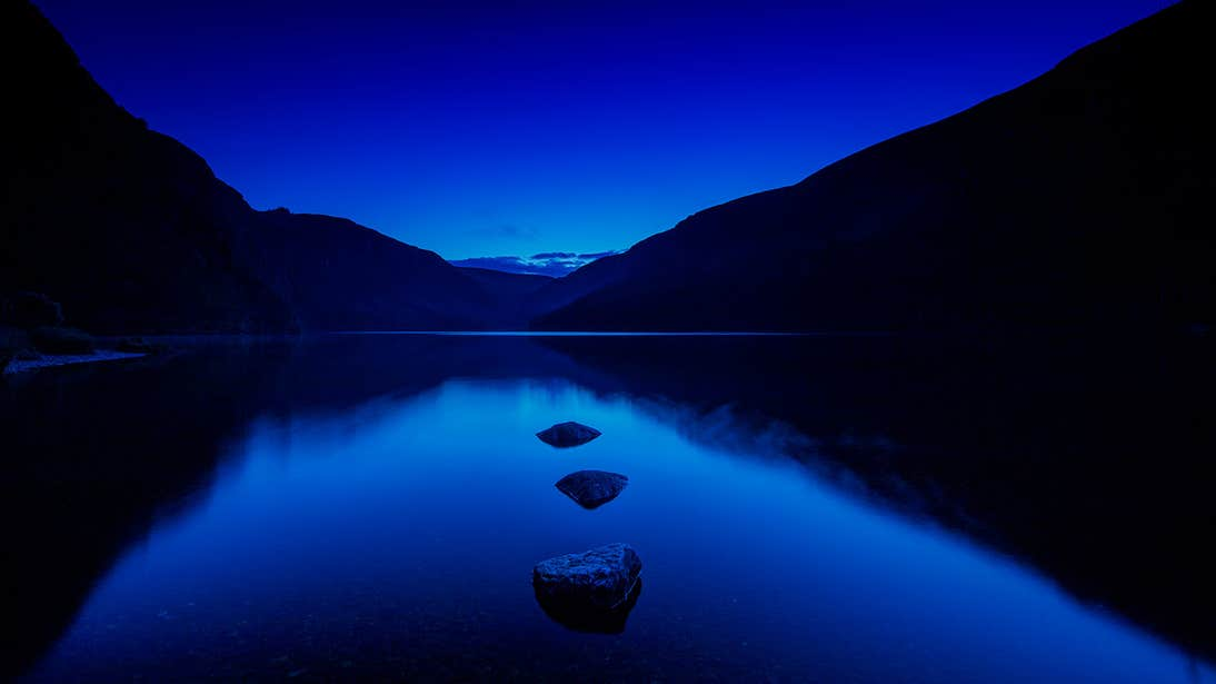 A stunning night time shot of Glendalough Lake in Wicklow