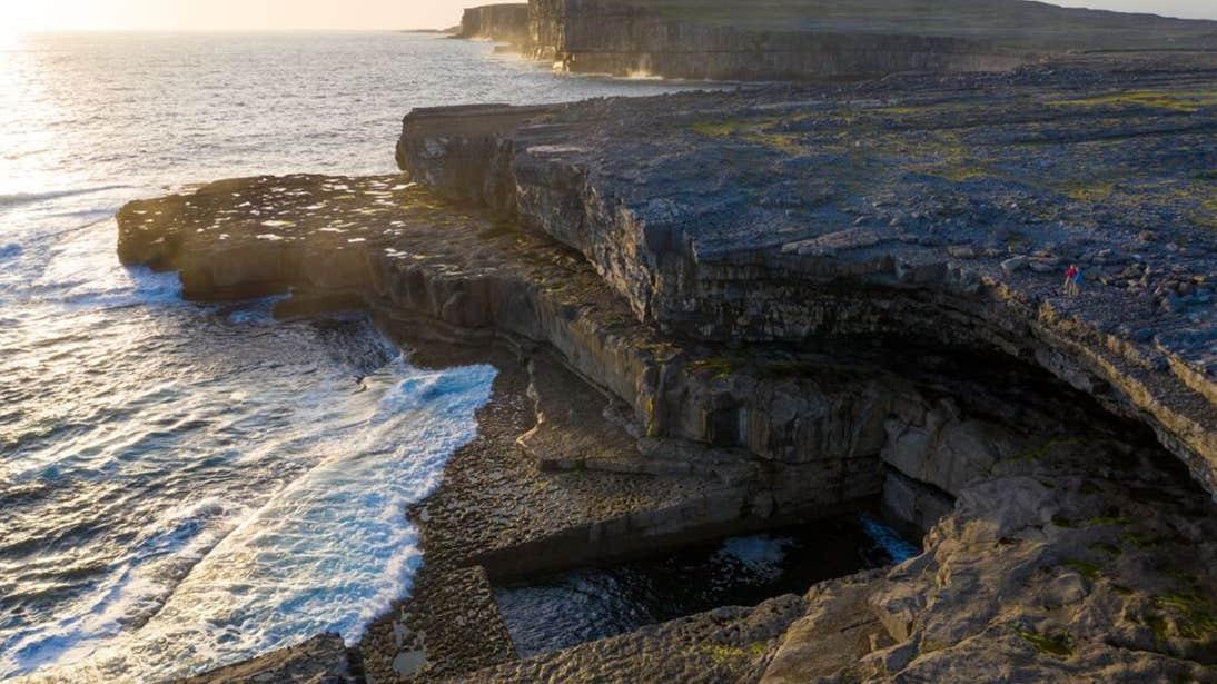 View of the cliffs at Aran Islands at sunset