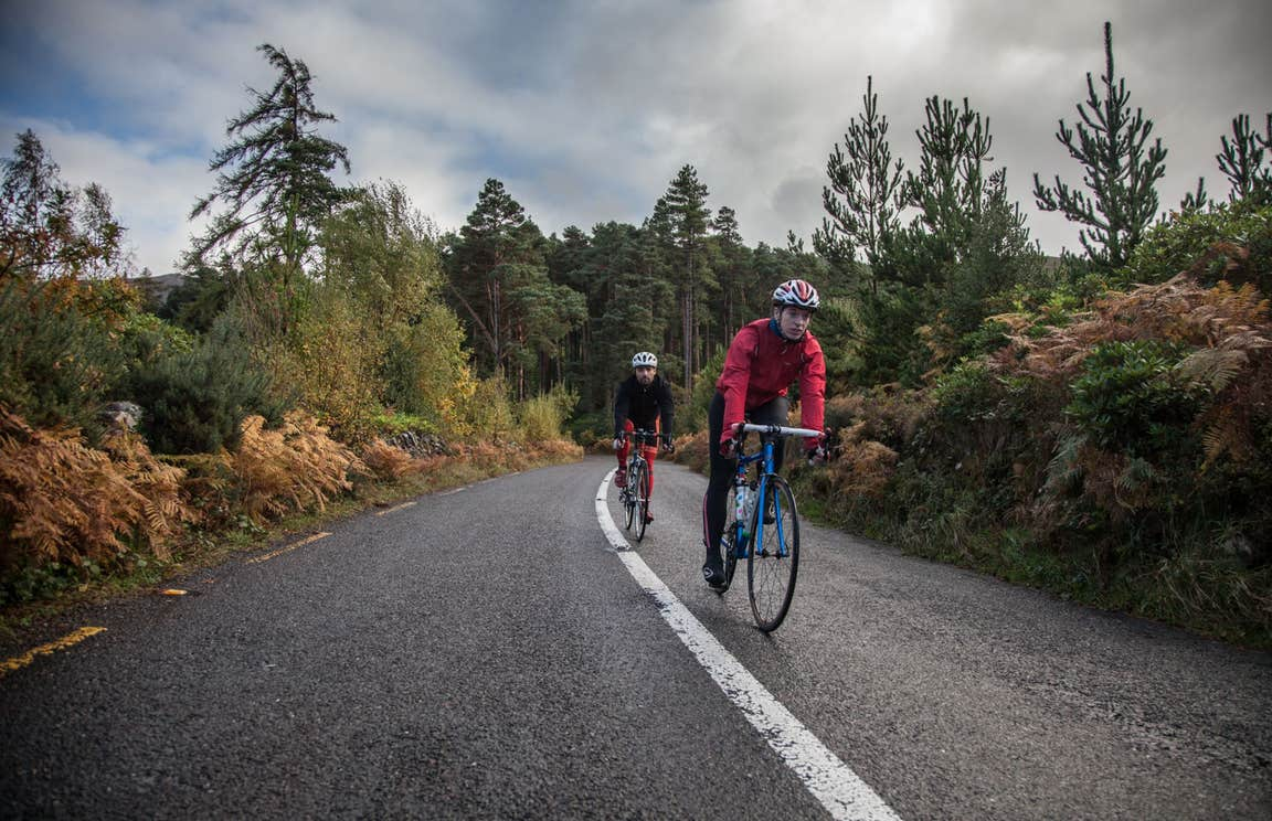 Two cyclists in a forest on a tarmac road.