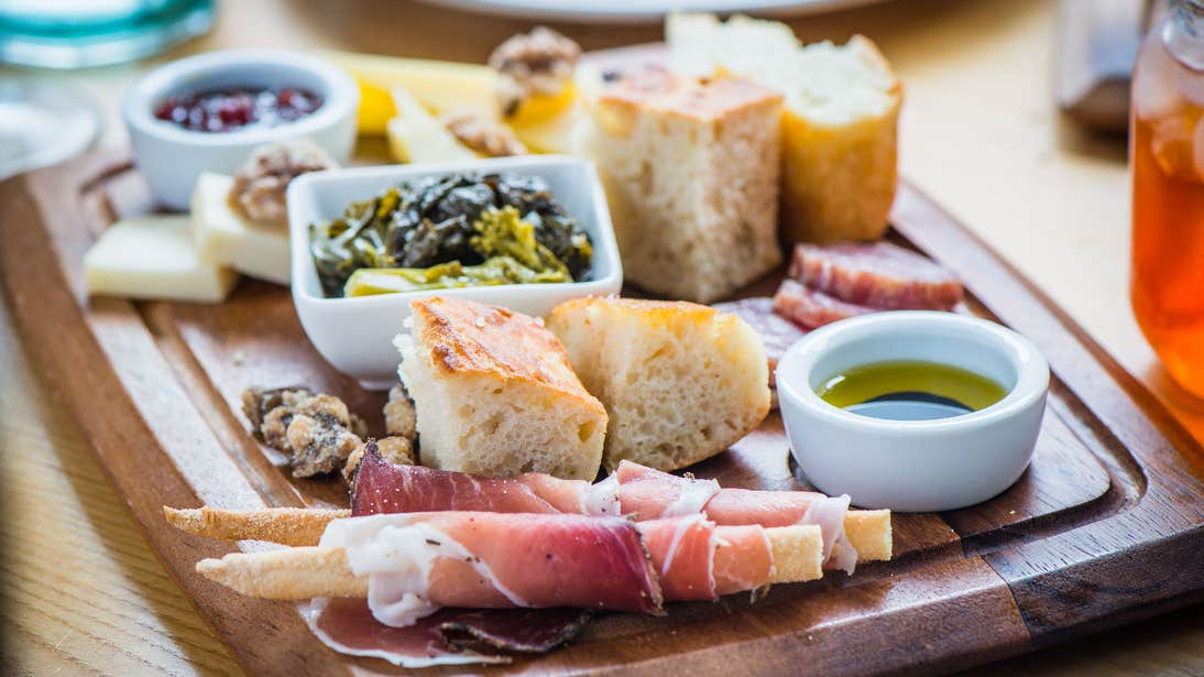 A food board featuring a selection of meat and accompaniments in Cask at Hotel Isaacs, Cork City