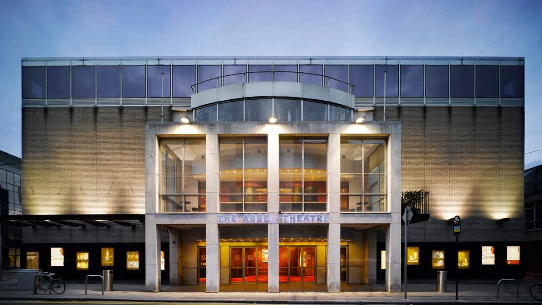 The exterior of the Abbey Theatre in Dublin at night time.
