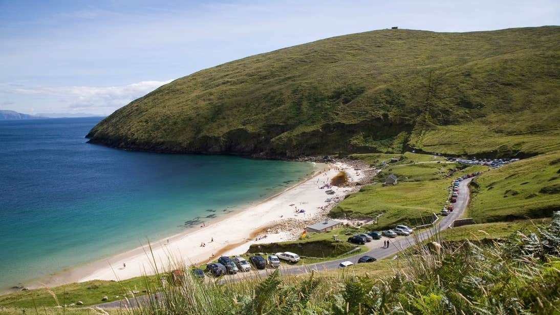 White sand and blue water at Keem Bay, County Mayo