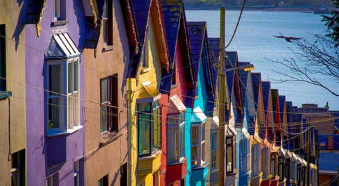 Colourful houses in a row in Cobh, Cork