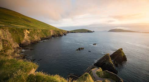 Sunset by the water at Dunquin Harbour in Co. Kerry