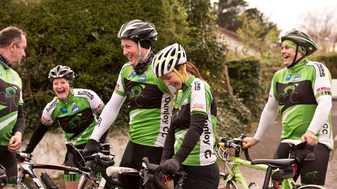 A group of cyclists getting ready for a bike ride in County Cavan