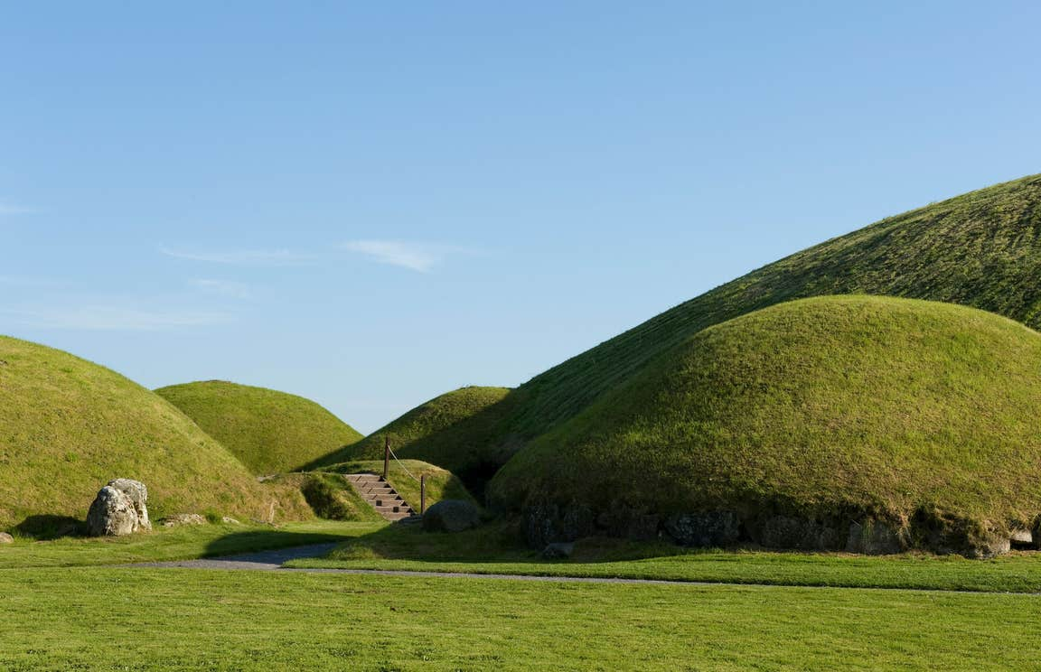 Ancient green mounds at Knowth in Meath