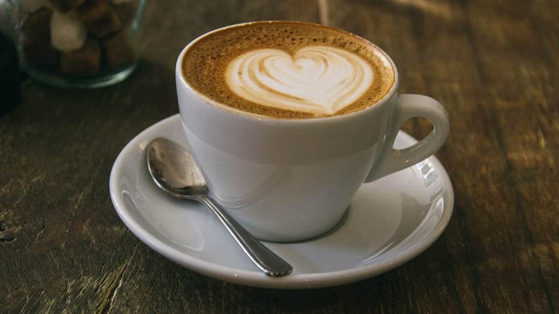 A latte in a café