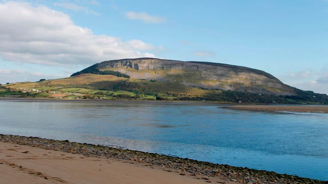 Blue water in front of Knocknarea Mountain, Sligo