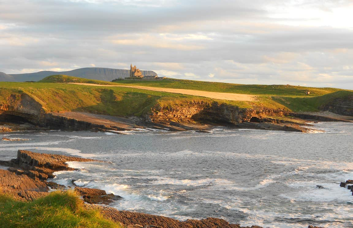Looking out across the sea towards Classiebawn Castle, Mullaghmore, County Sligo