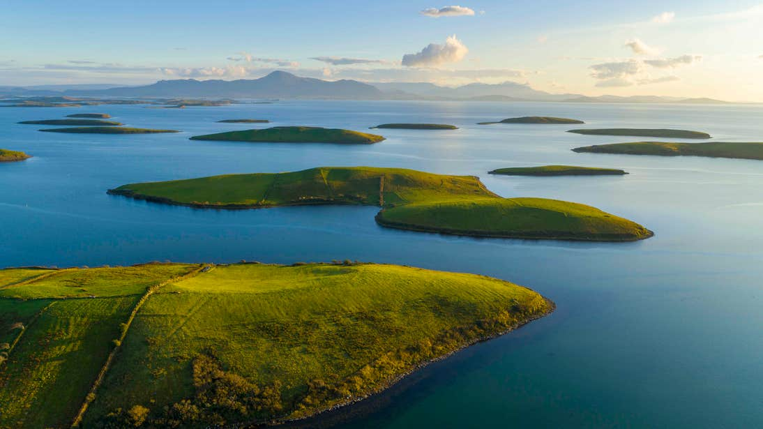 An aerial view of Clew Bay, Westport, Mayo