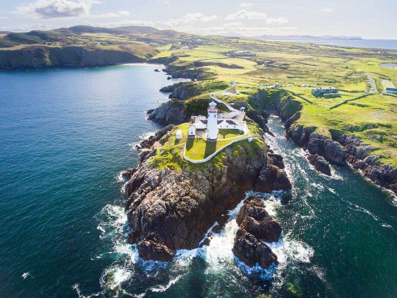 Aerial view of Fanad Head Lighthouse, County Donegal