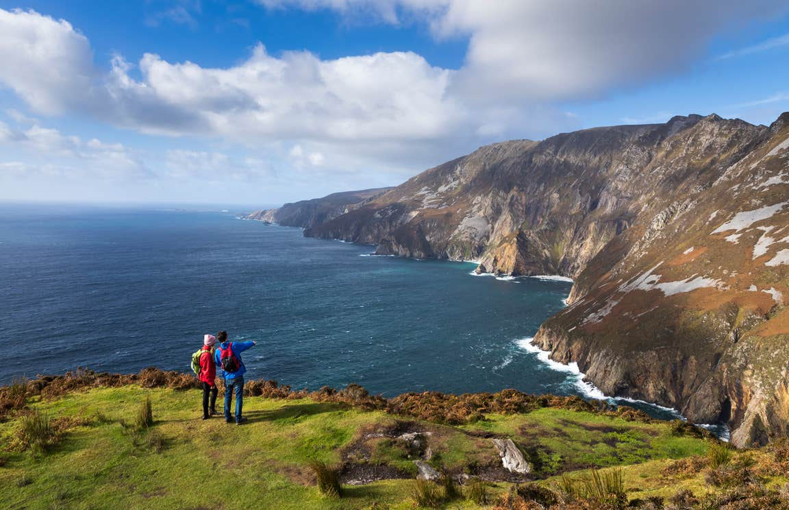 Hikers checking out the views from Slieve League