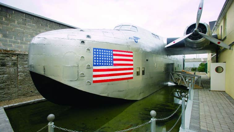 An exhibit of a plane featuring the American flag at Foynes Flying Boat Museum, Co. Limerick in Wild Atlantic Way