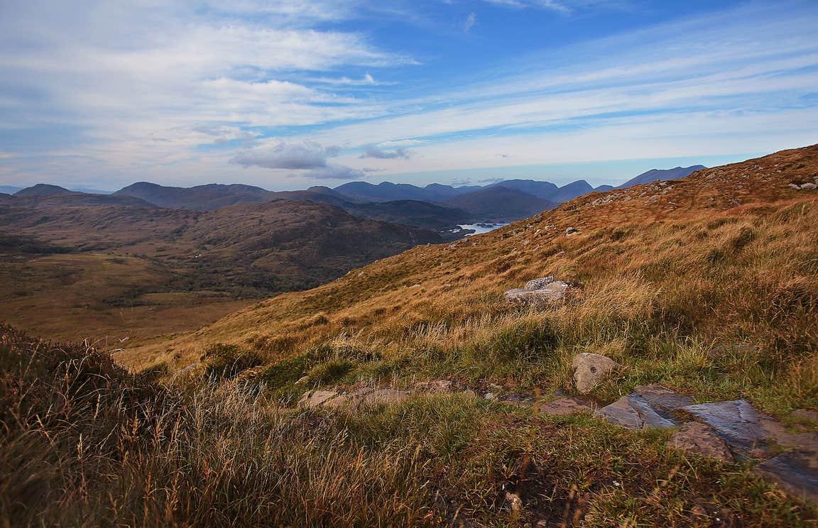 Golden hills beside a trail on Torc Mountain, Kerry