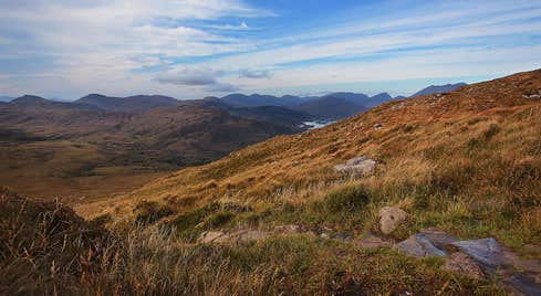 Golden hills beside a trail on Torc Mountain, Kerry