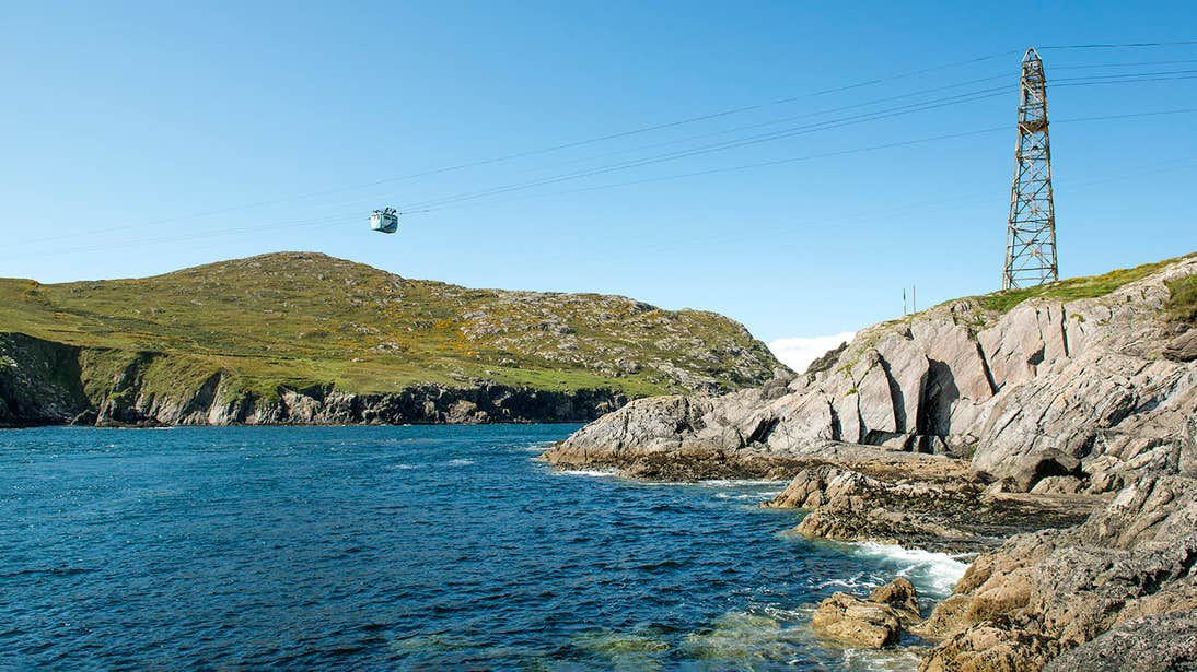 A cable car crossing over water in Co. Cork