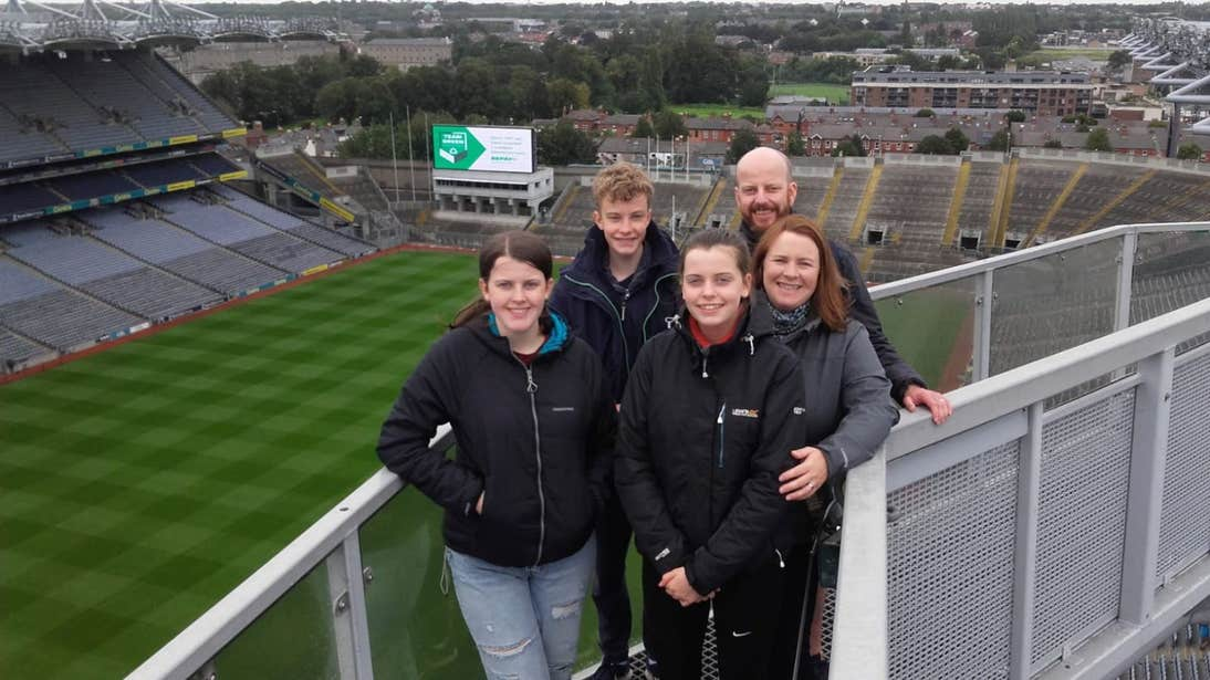 A family taking a tour of Croke Park, Dublin