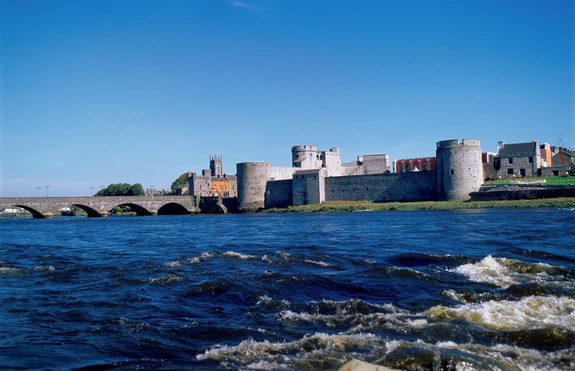 Blue skies and river views with the backdrop of King John's Castle, Co. Limerick