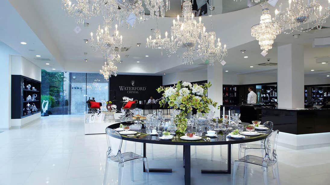 The white interior of House Of Waterford Crystal Store, Waterford City, Co. Waterford
