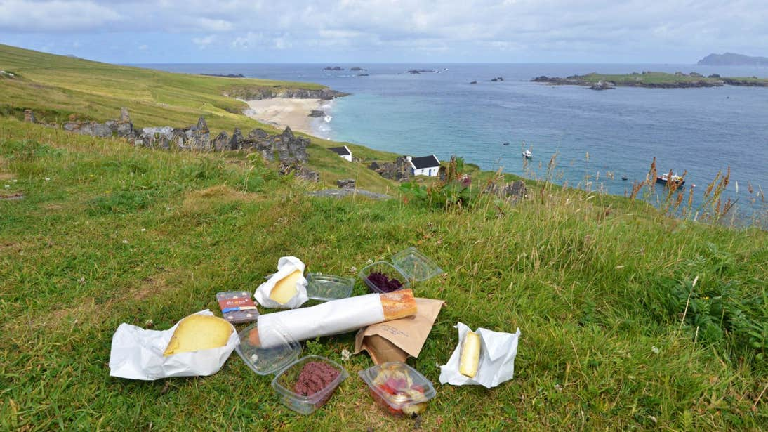 A picnic beside the sea on the Blasket Islands, Kerry