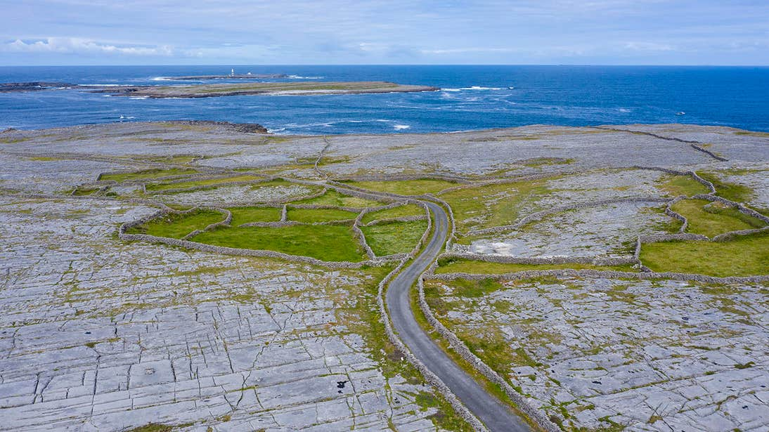 A country road through Inishmore, Aran Islands, Galway
