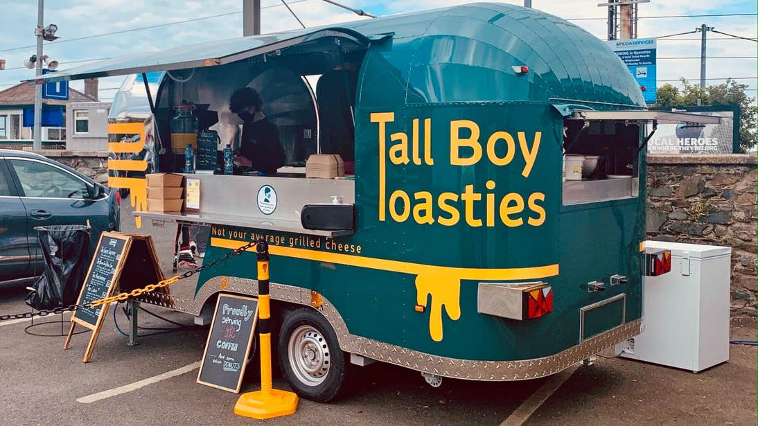 A green food truck called Tall Boy Toasties, Greystones, Wicklow
