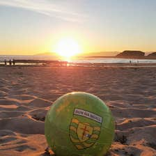Image of a football on a beach in Bundoran in County Donegal