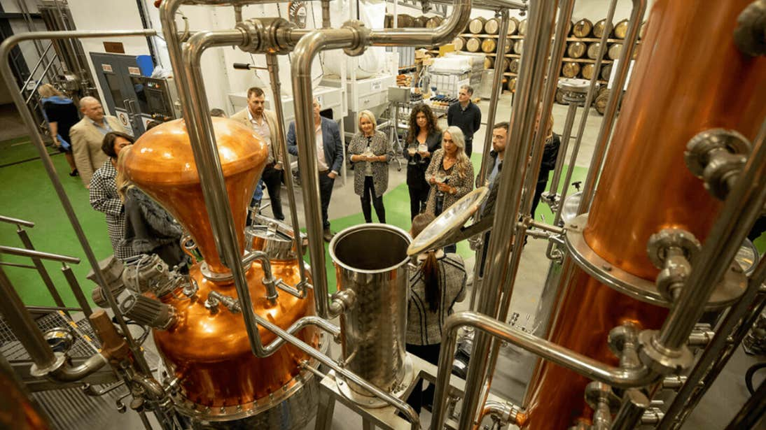 People touring the inside of Ballykeefe Distillery, Kilkenny