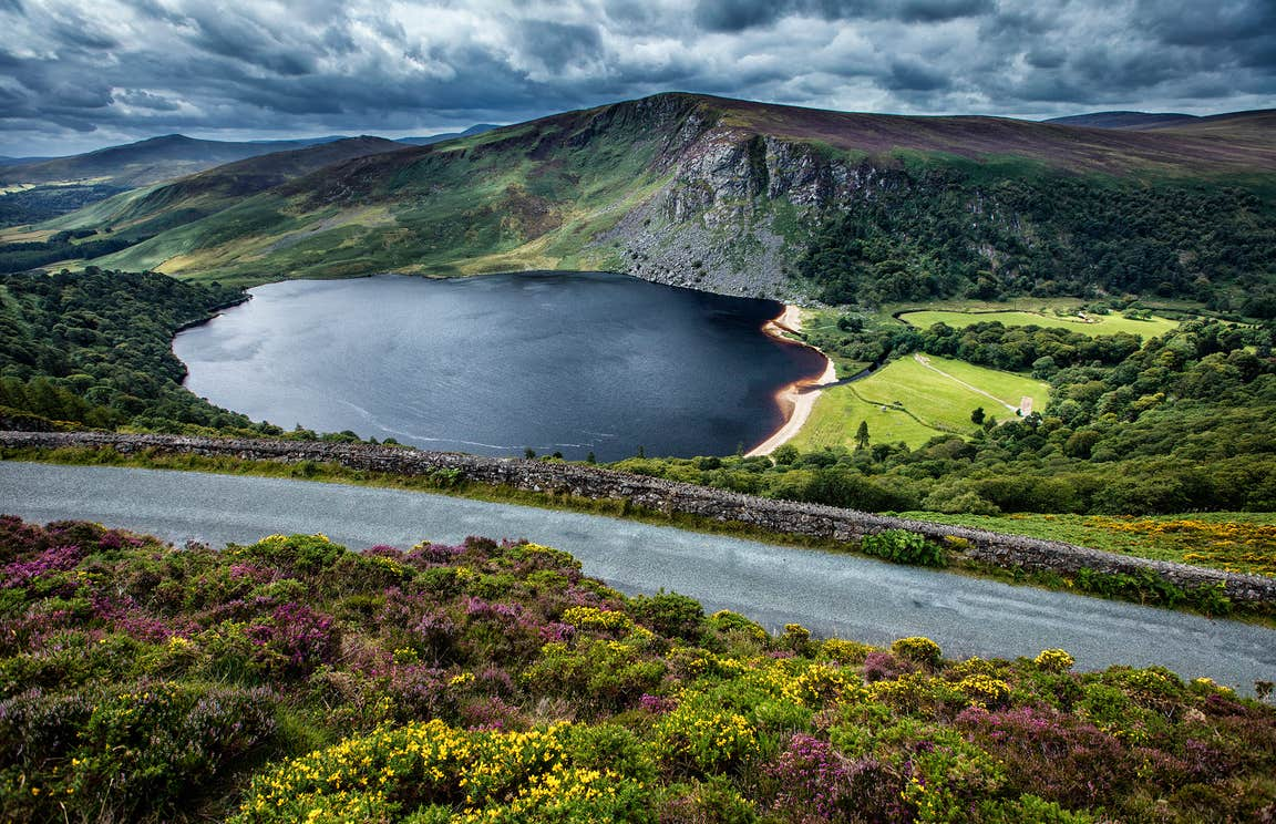 Lough Tay and the nearby mountains in County Wicklow