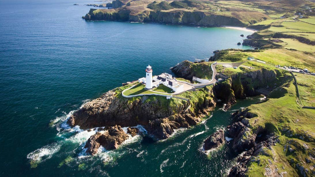 Aerial view of Fanad Head Lighthouse, Donegal