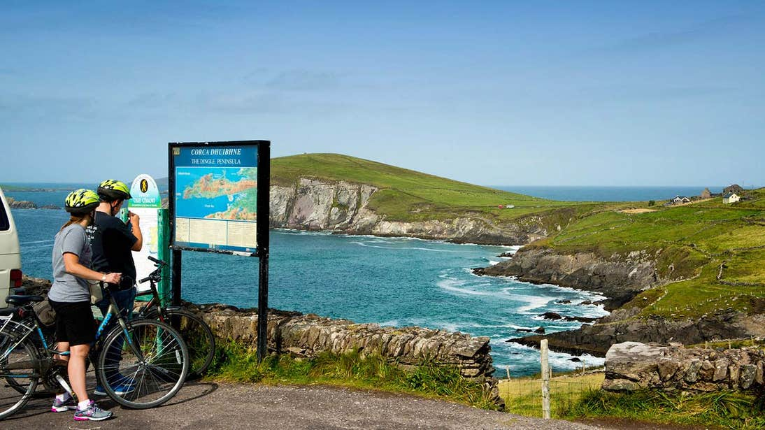 Cyclists at Slea Head in Dingle, County Kerry