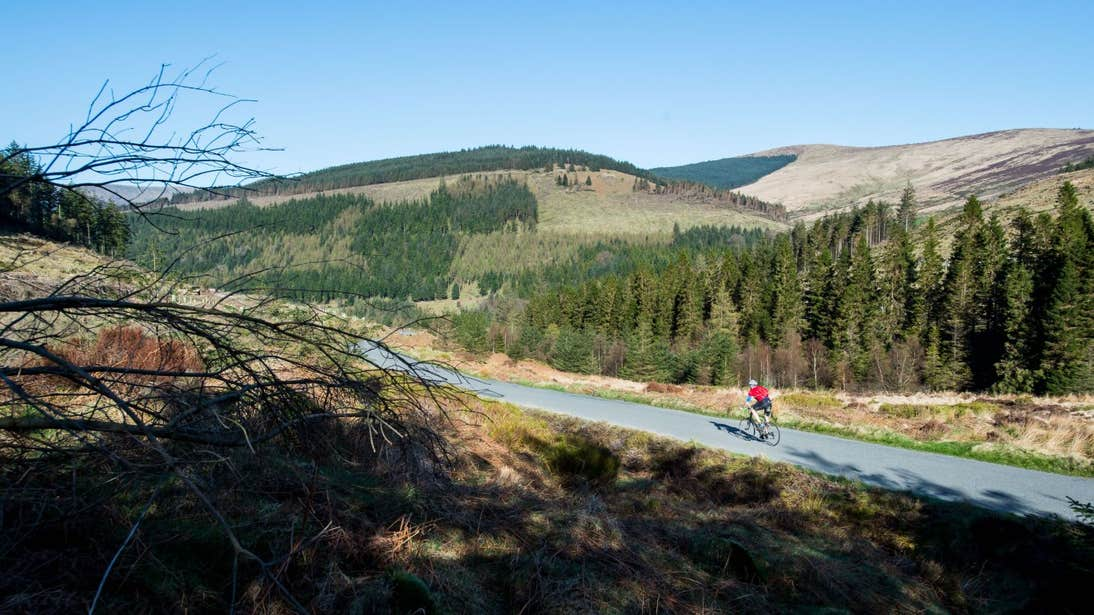 A cyclist in the Wicklow Mountains, County Wicklow