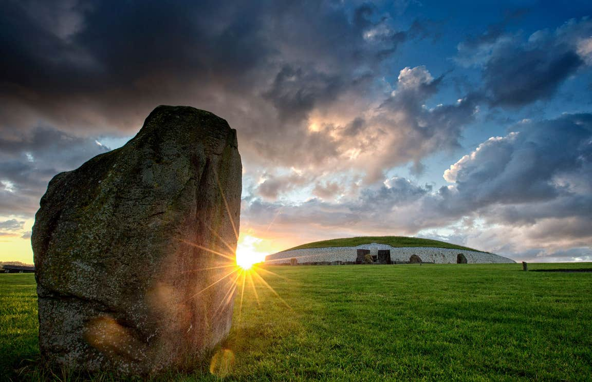 A sunset in Newgrange in County Meath