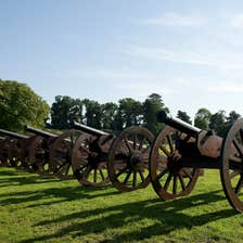 A row of cannons at the Battle of The Boyne Visitor Centre