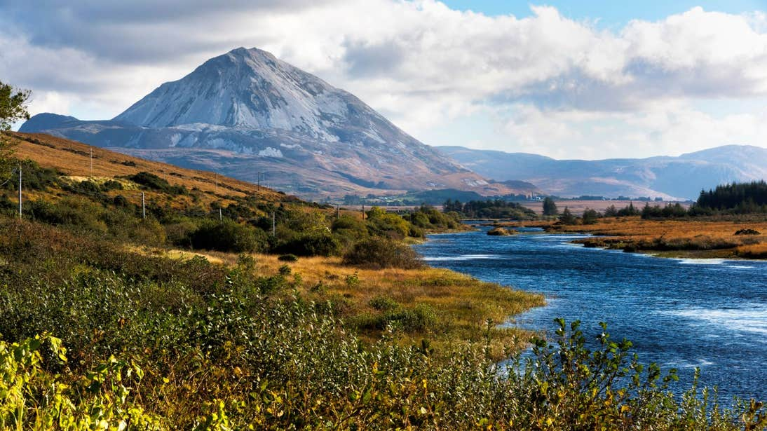 Wild hills and a lake in front of Errigal, County Donegal