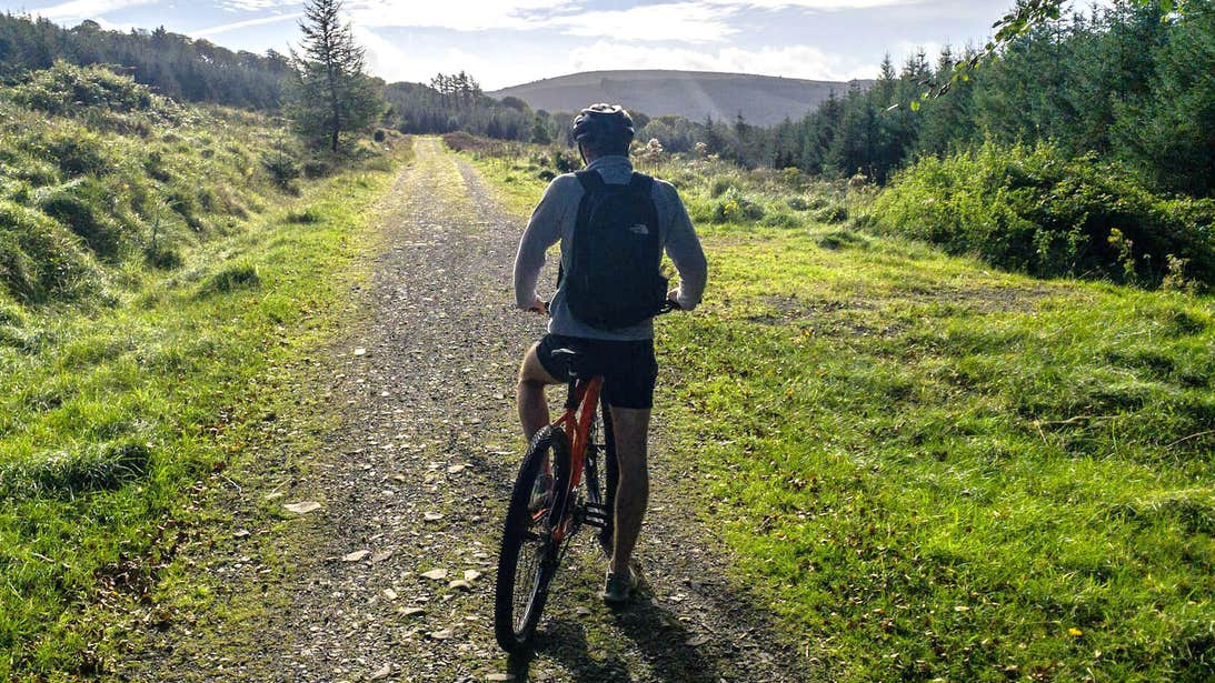 A mountain biker exploring the trails in the Slieve Bloom Mountains, County Offaly