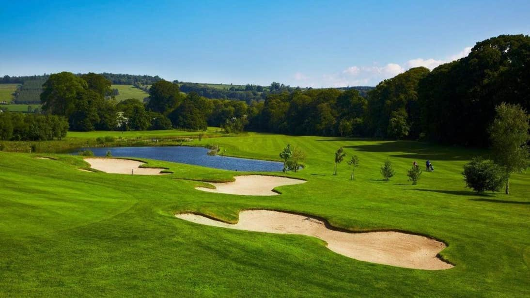 Bunkers and lakes at Bunclody Golf Club in Wexford on a sunny day