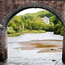 View from under the arches of the Old Railway Bridge, Newport, County Mayo