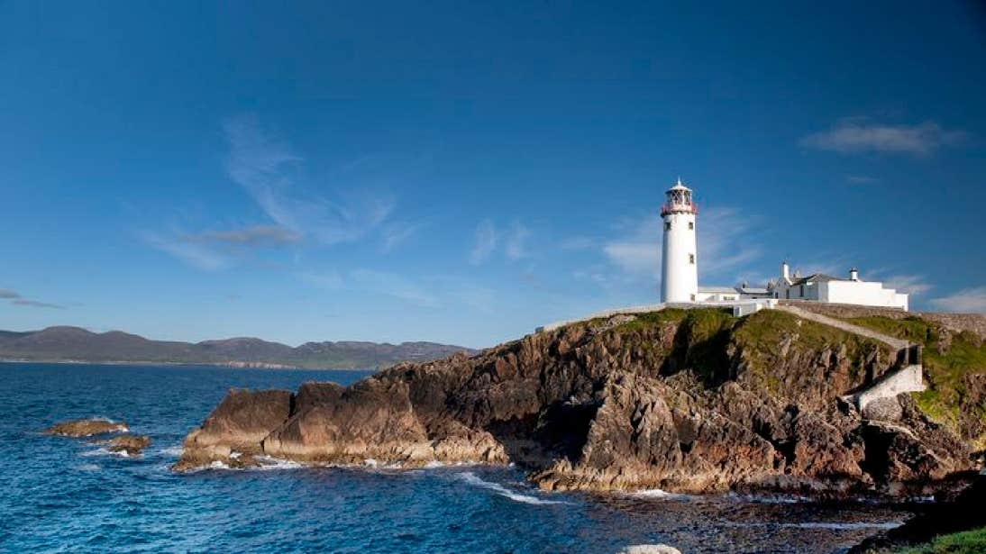 Fanad Head Lighthouse in County Donegal on a sunny day