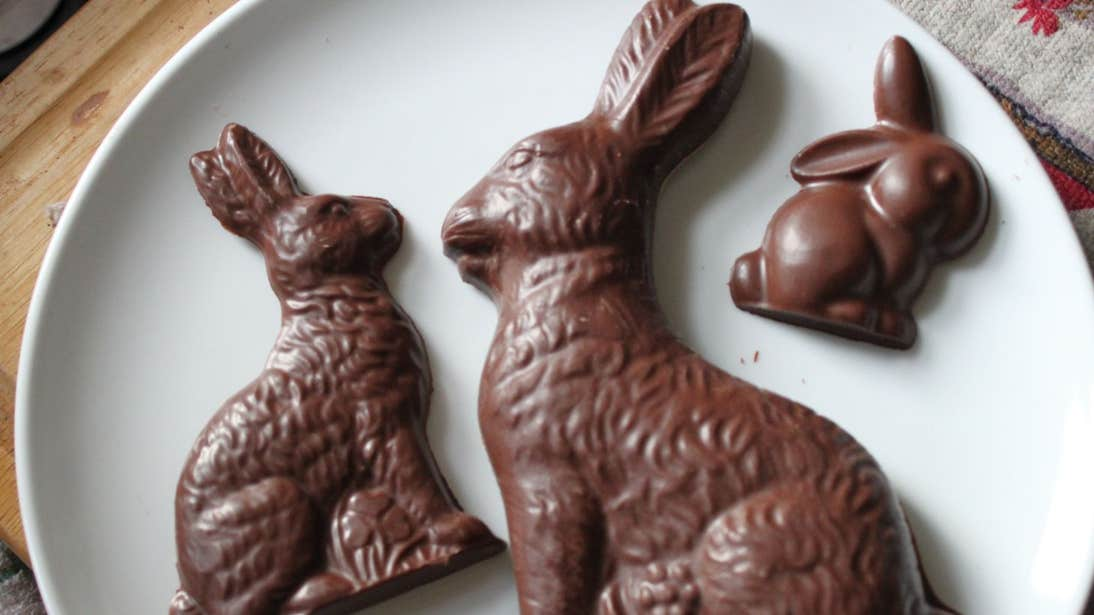 Three chocolate bunnies of all different sizes from Clonakilty Chocolate.