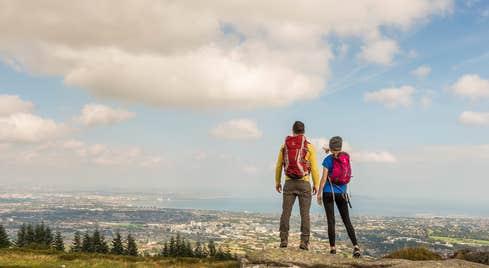 Two people hiking at Three Rock Mountain, Co. Dublin